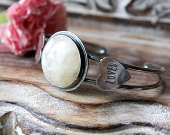 White Plume Agate, Sterling Silver Cuff Bracelet... Kismet...The You Are Loved Edition...