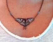 Spanish Luna Moth Necklace on Copper Chain