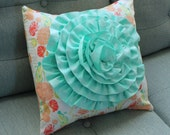 Reminisce Mint Rosette Pillow on Vintage Peach, Coral, and Mint Reminisce Floral for Handmade Nursery Decorative Pillow