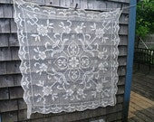 Filet Net Loose Weave Lace Tablecloth in Off-White Cotton or Linen