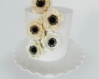sugar anemone medium  white and ivory set of 5