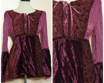 90s Burgundy Velvet Lace Shirt Tunic Top Medium Oversize Hippie Boho Stevie Nicks Festival