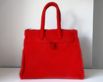 Red crochet bag, medium luxury purse