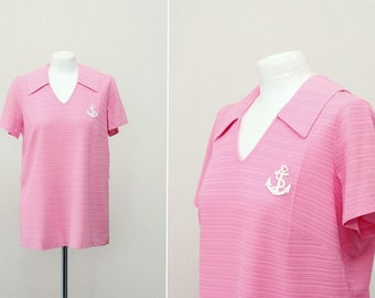 1960s Mod Top, Large Pink Blouse L, Nautical Top 60s Vintage Shirt, Vintage blouse Pink Vintage Top, Pink Top