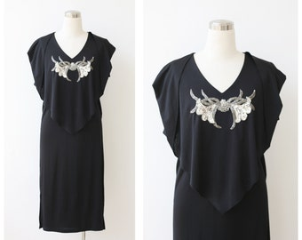 1980s Black Party Dress Large , Glam Disco Sequin Dress, Caped Evening Dress