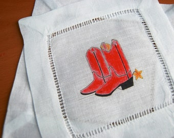 Linen Cocktail Coasters Red Western Boots Napkins Linen, set of 4 Barnyard Decor