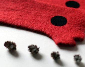 Red felt gloves, red felted mittens, felt gloves mittens, felted gloves, wool gloves, felted wool gloves, warm gloves, gift idea