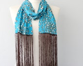 Fringe scarf blue scarf skinny scarf summer scarves for women cotton scarf fashion accessories unique gift idea for her bridesmaids gifts