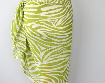 Green sarong wrap zebra print pareo womens swimwear chiffon beach cover up swimsuit coverups beachwear wraps bathing suits coverups