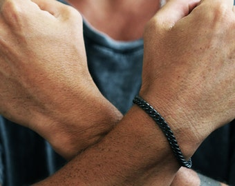 Matte Black Bracelet Black Chain Bracelets Mens Jewelry