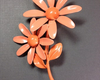 Vintage Orange Flower Brooch