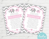 Instant Download - Printable Elephant Baby Shower Book Insert - Pink