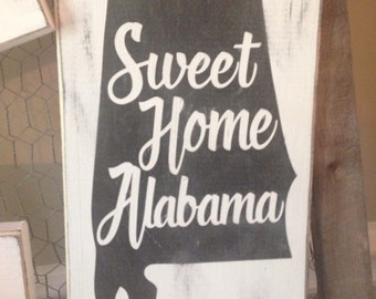 "State of Alabama wood sign hand painted and distressed approx 12"" x 8"""