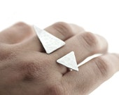 Floating Triangle Knuckle Ring - Sterling Silver - Hammered - Asymmetrical