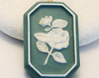 Vintage flower pendant. Wedgwood style pendant. Green and white pendant. Rolled gold chain