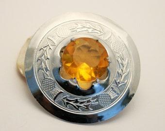 Vintage brooch. Celtic brooch. Citrine glass stone. Shield brooch