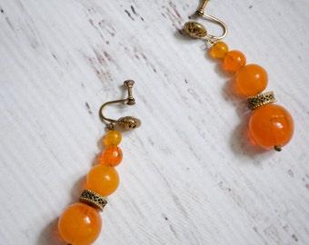 30s Glass Earrings - Vintage 1930s Dangle Earrings - Fresh Squeezed Earrings