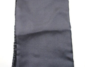 Vintage Pocket Square Silk Scarf Dark Gray Made in Italy All Silk Handcraft Inc. 17 inches Hand Rolled Hem Small Scarf Mens Suit Accessory