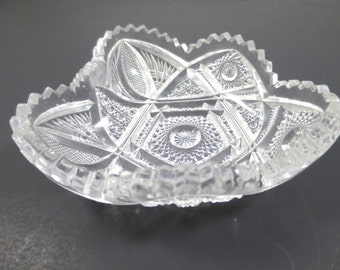 Vintage Heart Shape Nucut Glass Nappy Bowl EAPG Crystal Glass Scalloped Sawtooth Edges Pressed Glass Nut Candy Bowl Imperial Glass Co.Chippy