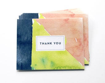 Thank You Notes, Watercolor Thank You Notes - Set of 6 - Abstract design