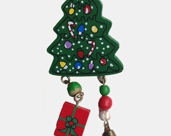 Christmas Tree Pin, Painted Wood with Package and Bell Charms and Wood Beads, Red, White and Green, for Wearing, Upcycling