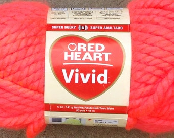 Halloween Yarn, Red Heart Yarn Vivid, Neon Orange Super Bulky Acrylic Yarn, Great for Arm Knitting, Crochet, Destash