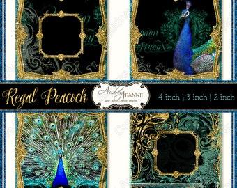 Digital Peacocks Gold Clipart Clip Art 2, 3 & 4 inch Wedding Favors Regal Multi Size, Coasters, Peacock Feathers Golden Glitter Digital
