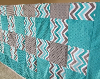Teal Gray Chevron Minky- Twin, Double, Queen or King Size Blanket- Ships in 1-3 Days