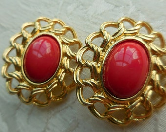 Vintage Signed TRIFARI Red and Goldtone Earrings LARGE RUNWAY