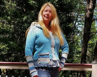 Recycled Sweater, Hoodie, Elfin Hood, Turquoise,   Medium, Large, Upcycled, Reconstructed Sweater, Gypsy, Top, Ready to Ship