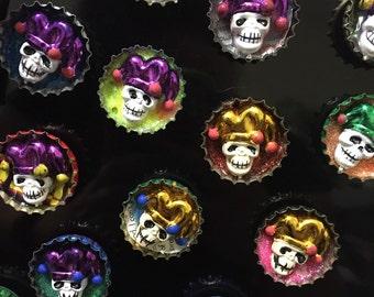 Mardi Gras jester skull bottle cap magnets