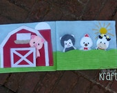 Farm quiet book, barn with animal finger puppets, felt farm animals, felt cow, sheep, chicken, and pig