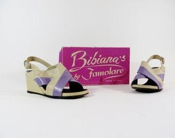 Vintage Famolare Shoes / 1970s Shoes / 70s Shoes / Peep Toe Shoes / Wedge Sandals / 8 1/2 8.5  Lavender Purple Shoes Two Tone Shoes