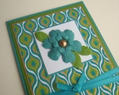 Teal and Blue Peacock Greeting Card Blank Inside