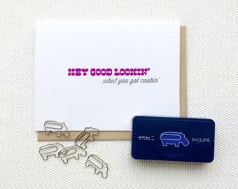 Hey Good Looking - Gocco Printed Card