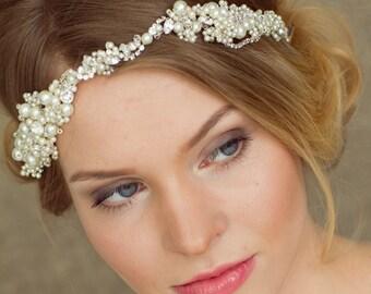 Bridal headband, Pearl Bridal headband, Wedding headband, Pearl headband, Bridal halo, Pearl hair vine, Wedding hair accessories