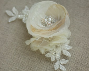 Bridal headpiece, Bridal hair accessories, Wedding headpiece, Bridal hair flower, Lace hair comb, Wedding hair comb, Floral hair comb,