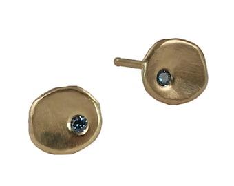 Blue Diamond Tide Pool Studs in Recycled 14k Gold or Silver - Post Earrings, Earrings, Conflict Free Diamond, Pool, Sea, Ocean, Gypsy Set