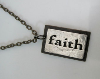 Mixed Metals Faith Pendant Necklace OOAK Handmade Repurposed Objects