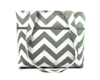 Gray Chevron Purse, Double Strap Shoulder Bag, Gray White Pocketbook, Fabric Purse, Shoulder Bag, Medium Gray Tote Purse, Key Clip