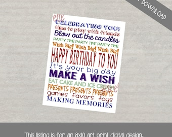 Primary Birthday Party Subway Art Print: INSTANT DOWNLOAD