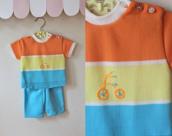 vintage baby's outfit - TRICYCLE knit top & shorts set / 6-12M