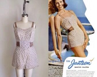 vintage 1950s Jantzen swimsuit - MERMAID SCALES lace bathing suit  / M
