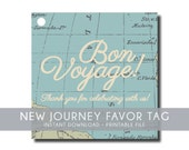 Travel Theme Baby and Bridal Shower Favor Tag Printable File - Going Away and Retirement  - DIY Digital Files - New Journey #00013-ID
