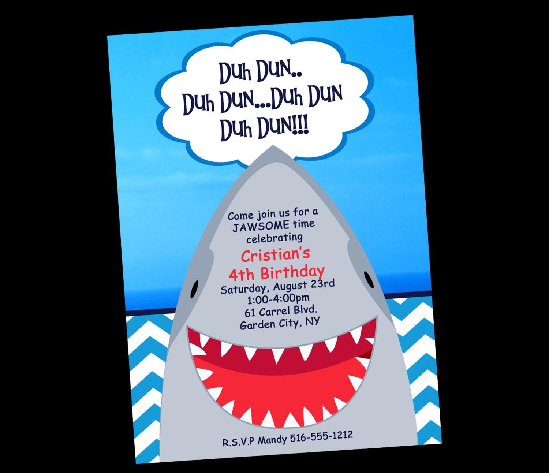 Shark Birthday Invitation Printable or Printed Shark Party