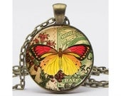 Red and Yellow Butterfly with Postage and Flowers Necklace with Chain Altered Art Pendant Resin Pendant Picture Pendant Art Pendant