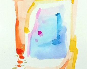 Small Original Watercolor, 5×7 Mini Painting, Small Abstract Art, Abstract Watercolor Painting,