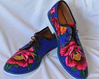 Men Oxford shoes in platok Russia Electric blue flower pattern Oxford shoes Black flower Oxford shoes