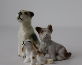 Vintage Trio of Terriers, Dogs, Made in Japan, Collectible Set of Three Dogs, Art & Collectibles, China Dog Set, Dog Figurines, Antique Dogs