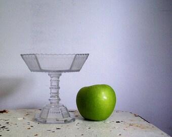 Antique pedestal dish pressed glass dish